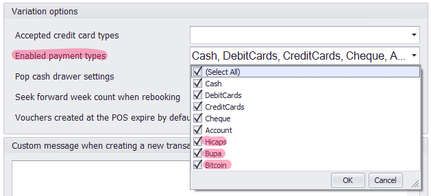 enable payment types